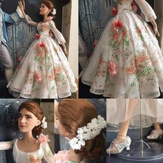 "Shown is a closer look at the #Belle doll from the Live Action Beauty and the Beast 17"" Doll Set. Belle is in her white royal celebration gown that is filled with pink floral patterned and attached to her outfit. Her dress is completely encrusted in gems throughout bringing such sophistication to her ensemble.  Belle's hair is intricately designed into a bun complete with a white floral hairpiece. Her outfit is then completed with multi-colored floral patterned high-heeled shoes. This doll…"