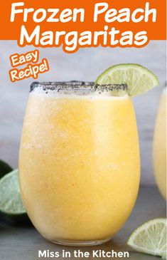 Frozen Peach Margaritas are always a party favorite and this frozen cocktail is a great twist on the classic with sweet, frozen peaches, orange juice, lime and tequila. Refreshing Drinks, Summer Drinks, Fun Drinks, Alcoholic Drinks, Peach Margarita Recipes, Easy Margarita Recipe, Frozen Cocktails, Cocktail Drinks, Cocktail Recipes