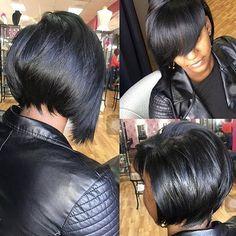 Cute natural hair styled by ✂️ Black Bob Hairstyles, Cool Hairstyles, Weave Hairstyles, Hot Hair Styles, Natural Hair Styles, My Hairstyle, Hairstyle Ideas, Hair Affair, Relaxed Hair