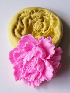 Peony mold 260 - silicone mold, craft mold, porcelain mold, jewelry mold, food mold, pop up mold, clays mold, flexible mold. $5.00, via Etsy.