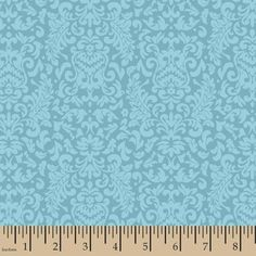 "Valero Damask, Cotton, Aqua, 44/45"" Wide, Fabric By The Yard"