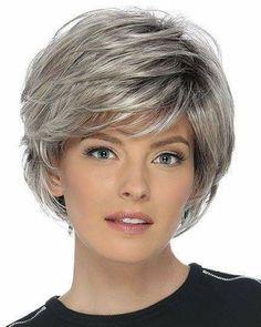 New Bob Haircuts 2019 & Bob Hairstyles 25 Bob Hair Trends for Women - Hairstyles Trends Short Grey Hair, Short Hair With Bangs, Short Hair With Layers, Short Blonde, Short Hair Cuts, Full Bangs, Hair Bangs, Short Hairstyles For Women, Hairstyles With Bangs