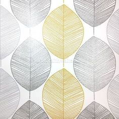 Scandi from Arthouse is amodern version of the very popular Retro Leaf design. Scandi is a yellow and greyleaf with silver glitter highlights on a cream background Yellow Bathroom Decor, Yellow Bathrooms, Modern Wallpaper, Room Wallpaper, Gray Wallpaper, Wallpaper Ideas, Grey And Yellow Living Room, Design Exterior, Yellow Interior
