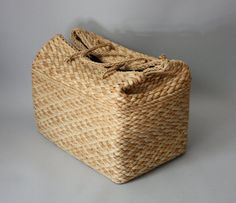 Large Basket Straw Bag Rectangle Box Purse by FoundForagedFormed