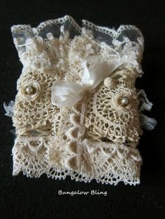 French Inspired Vintage lace cuff by Bungalow Bling  (Back)