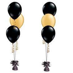 1x Black and Gold Latex Balloon Bouquet - Click Image to Close