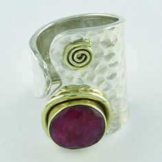 DESIGNER LOOK RUBY AGATE STONE 925 SEMIPRECIOUS STERLING SILVER WITH BRASS RING #SilvexImagesIndiaPvtLtd #Statement