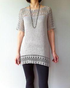 Julia - floral lace tunic (crochet+knit)