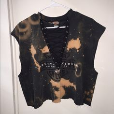 Vintage distress Harley Davidson tee lace up Vintage distress Harley Davidson tee lace up-oversized looks crop but fits like a short tee shirt so cute with jeans boots and leather jacket✨✨made by me Urban Outfitters Tops Tees - Short Sleeve