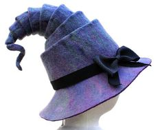 Felted eco-friendly warm purple violet Halloween witch hat