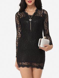 #AdoreWe #Fashionmia Fashionmia❤️Designer Womens V Neck Lace Hollow Out Lace Plain Bodycon-dress - AdoreWe.com