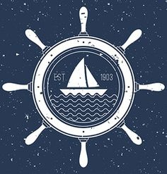 Nautical logo with a sail boat inside steering vector