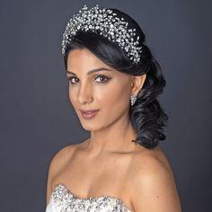 "Exquisite Hand Wired 4"" Rhinestone Spray Wedding Vine Headpiece - Affordable Elegance Bridal -"