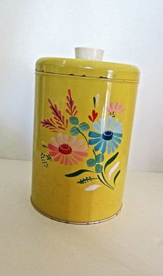 Your place to buy and sell all things handmade Vintage Tins, Vintage Kitchen, Granny Chic Decor, Cute Kitchen, Oldies But Goodies, Canisters, Pyrex, Room Decor, Hand Painted