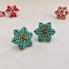 made with and size fifteen Seed Bead Jewelry, Seed Bead Earrings, Beaded Earrings, Beaded Jewelry, Stud Earrings, Jewellery, Bead Loom Bracelets, Beaded Bracelet Patterns, Beading Patterns