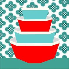 Sew Retro 2 Pyrex Bowls Paper Pieced pattern on Craftsy.com