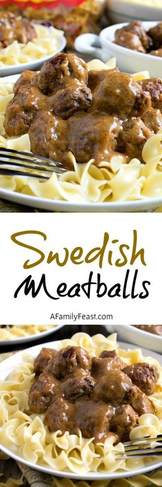 Swedish Meatballs over Noodles - Ultimate comfort food that is easy to make and delicious!
