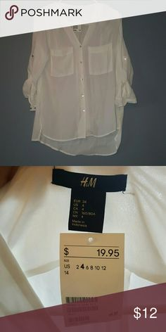Sheer White Button-Down Blouse Sheer white button down from H&M that has never been worn & still has the tag. Light and airy material: 100% Polyester. It is long sleeve but has buttons on the sleeves for a tidy rolled look. H&M Tops Button Down Shirts