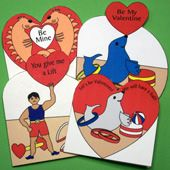 Instructions and patterns for making heart-shaped Valentine's Day cards. Easy enough for children to make.
