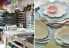 Vintage doily designs in clay pottery by artist Maggie Weldon