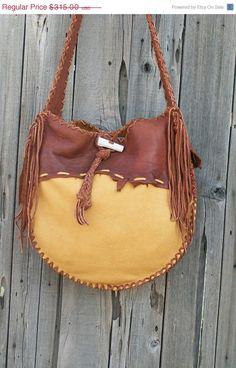 ON SALE Buckskin drumbag Fringed leather handbag by thunderrose, $267.75