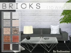 The Sims Resource: Bricks by PralineSims The Sims 4 Pc, Sims 4 Mm, My Sims, 4 Wallpaper, Brick Wallpaper Sims 4, Sims 4 Bedroom, Casas The Sims 4, Sims Building, Sims 4 Clutter