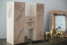 use your new initial as a guest book! photo by Blake Loates http://ruffledblog.com/intimate-edmonton-wedding #guestbooks #weddingideas