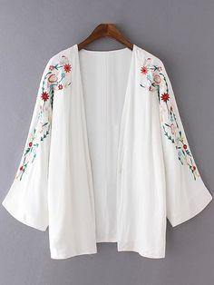 White Long Sleeve Embroidery Cardigan Kimono.