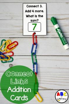 Connect Links Addition Task Cards are a fun, hands-on way for children to practice adding. Connecting the math links together is a great way for children to visually see addition, develop their fine motor skills, and work on their hand and eye coordinatio Math Work, Fun Math, Math Games, Math Activities, Addition Activities, Toddler Activities, Math Stations, Math Centers, Learning Stations
