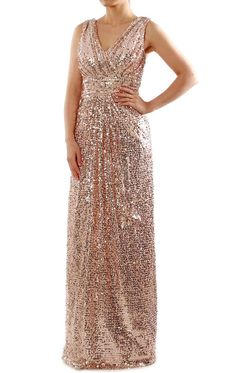 Straps V Neck Long Sequin Rose Gold Bridesmaid Dress Formal Evening Gown Cap Sleeve Bridesmaid Dress, Burgundy Bridesmaid Dresses Long, Prom Dresses Long Pink, Sequin Bridesmaid Dresses, Formal Dresses, Bridesmaids, Pink Dresses, Bride Dresses, Long Evening Gowns