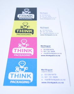 Business Card for: THINK Packaging - - I like this. I don't know whether it's the cute inviting colours that are drawing my attention to this, or the font used, or the cute animation. It's probably the combination of all the design elements 'fcourse. ?