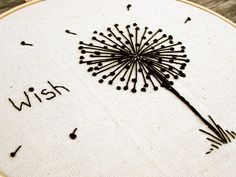 via Blakeswork on etsy http://www.etsy.com/listing/72962329/hand-embroidered-dandelion-wish