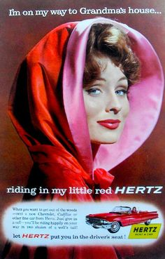 Suzy Parker as Little Red Riding Hood. Suzy Parker was one of the very top… Vintage Advertisements, Vintage Ads, Vintage Prints, Vintage Posters, Vintage Photos, Vintage Style, Planner Stickers, Dorian Leigh, Editor Of Vogue