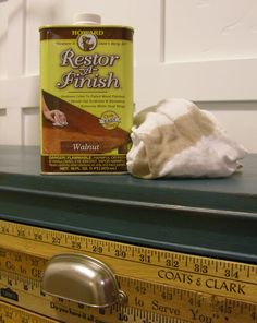 Yardstick Buffet Tutorial -- Talks about using Restor-A-Finish to pretty up old wood