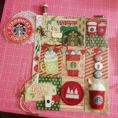 Starbucks, pocket letter, pocket letter pals, pocket swap, red cup, coffee, coffee lover, buttons, christmas, pocket page, pocket pages Project Life Scrapbook, Project Life Cards, Pocket Pal, Pocket Cards, Atc Cards, Journal Cards, Pocket Scrapbooking, Scrapbooking Layouts, Starbucks Crafts