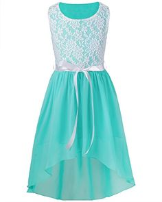 Buy Big Girls Kids Lace Flower High Low Chiffon Dress Wedding Bridesmaid Party Gown - Aqua Marine - online, more latest style of Girls' Special Occasion Dresses sale at affordable price. Dresses Short, Knee Length Dresses, Dresses For Teens, Dance Dresses, Plus Size Dresses, Cute Dresses, Girls Dresses, Little Girl Dresses, Flower Girl Dresses