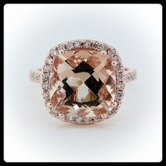 I think I found the one... Morganite Center Ring Rose Gold with Diamond Halo Setting - Ring Name: Majestic