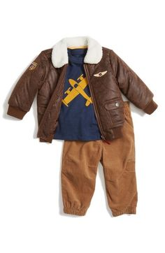 Little Me 'Aviator' Bomber Jacket, Top & Pants (Baby Boys) available at #Nordstrom