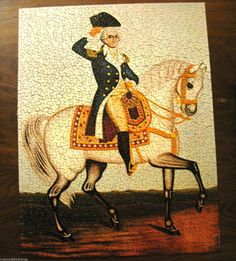 Love this American history themed Springbok jigsaw puzzle featuring George Washington on a white horse or charger.