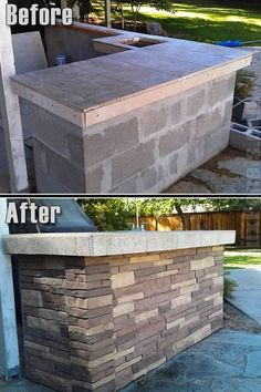 Kitchen Countertops fake Nailon Stone Wall - BBQ remodel Relaxing Outdoor Kitchen Ideas for Happy Cooking Backyard Bar, Backyard Landscaping, Backyard Kitchen, Kitchen Grill, Sloped Backyard, Kitchen Storage, Faux Stone Walls, Gazebos, Outdoor Kitchen Countertops