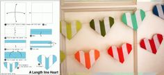 striped origami heart garland // just for valentines day Origami Garland, Diy Garland, Origami Paper, Origami Easy, Heart Banner, Heart Garland, Valentine Day Love, Valentine Day Crafts, Valentine Hearts