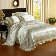 sunnyrain 4pieces lace edge jacquard luxury bedding sets king size queen size bed set duvet cover bed sheet pillow sham home textile pinterest luxury