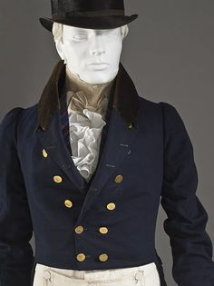 Mens Tailcoat England, ca.1825-1830 outerwear Wool plain weave, full finish, with silk cut velvet on twill foundation