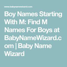 Unique Boy Names That Start With M