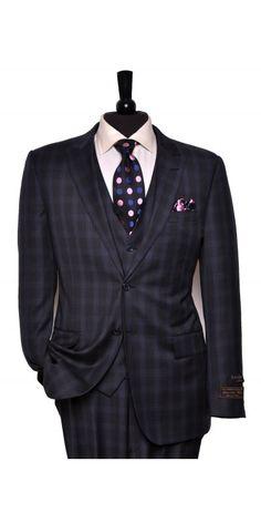 Tiglio Lux Men's Suit Blue Plaid - MADE IN ITALY