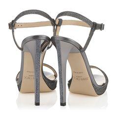 A unique lamé glitter fabric heel: The Jimmy Choo CLAUDETTE sandals