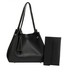 Black Drawstring Tote Bag With Pouch - AG00591M  442e9e56c3e3a