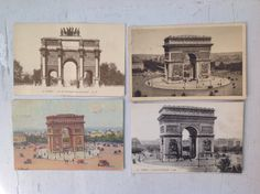 4 L'Arc de Triomphe cartes postale antique French by MaxAndCoPost, $8.00