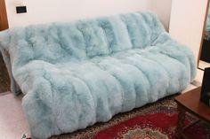 Sky Blue Fox Fur Blanket