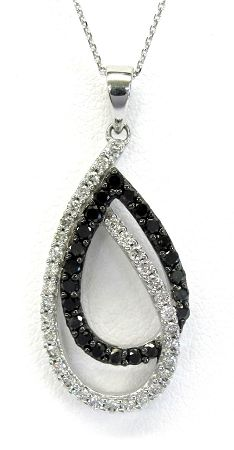 """Ladies 14kt white gold diamond pendant. Mounted in pendant are 22 round cut black diamonds and 33 brilliant round cut white diamonds weighing a total of approximately .75cts. Pendant comes with an 18"""" chain."""